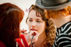 Beautiful Female Having Her Make Up Done By A Make Up Artist Tea Royalty Free Stock Image