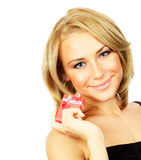 Beautiful female holding gift Stock Images