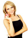 Beautiful female holding gift Royalty Free Stock Photos