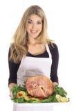 Beautiful female with honey baked ham Royalty Free Stock Photo