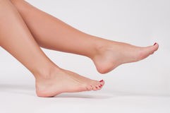 Beautiful female leg. Beauty and foot care stock photo