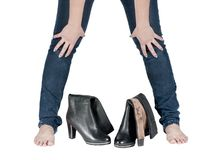 Beautiful female legs in boots Stock Images