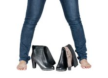 Beautiful female legs and boots Royalty Free Stock Images