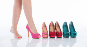 Beautiful female legs in fashion shoes Royalty Free Stock Photo