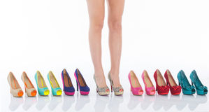 Beautiful female legs in fashion shoes Royalty Free Stock Image