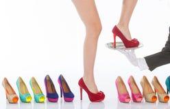 Beautiful female legs in fashion shoes Stock Photo