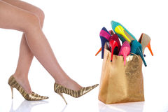 Beautiful female legs in fashion shoes Stock Photography