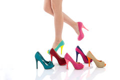 Beautiful female legs in fashion shoes Royalty Free Stock Images