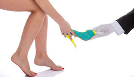 Beautiful female legs in fashion shoes Stock Photo