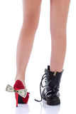 Beautiful female legs in fashion shoes Stock Images