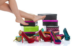 Beautiful female legs in fashion shoes Royalty Free Stock Photos