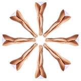 Beautiful female legs in kaleidoscope ornament. Royalty Free Stock Image