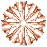 Beautiful female legs in kaleidoscope ornament. Perfect and beautiful female legs in kaleidoscope ornament. Isolated on white background Royalty Free Stock Image