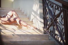 Beautiful female legs with lace pattern Royalty Free Stock Image