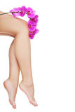Beautiful female legs and an orchid flower Royalty Free Stock Photos