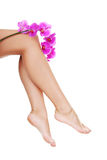 Beautiful female legs and an orchid flower Royalty Free Stock Photo