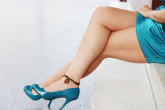 A beautiful female legs outdoors. Royalty Free Stock Photos