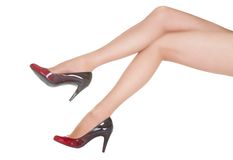 Beautiful female legs in pantyhose and shoes Royalty Free Stock Photos