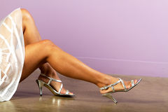Beautiful female legs and shoes Royalty Free Stock Photography