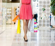Beautiful female legs during shopping Stock Photos