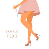 Beautiful female legs wearing rose-colored Stock Images