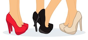 Beautiful female legs wearing shoes. Vector illustration Stock Image