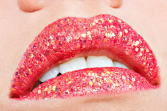 Beautiful female lips with shiny red gloss lipstick Royalty Free Stock Photos