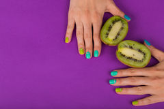 Beautiful female manicure. Professional bright manicure. Photos for magazines, posters, backdrops and websites Stock Photos