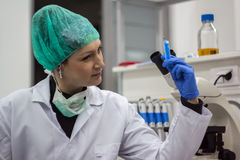 Beautiful female medical or scientific researcher or woman docto Royalty Free Stock Image
