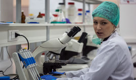Beautiful female medical or scientific researcher or woman docto Stock Photo