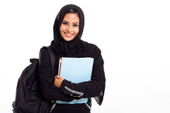Middle eastern student. Beautiful female middle eastern college student isolated on white Stock Photos