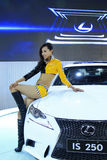 Beautiful female model in a car exhibition, China Royalty Free Stock Photos