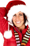 Beautiful female model close up in santa hat Royalty Free Stock Images