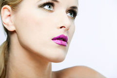 Beautiful female model with full makeup. Royalty Free Stock Images