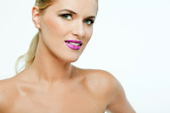 Beautiful female model with full makeup. Royalty Free Stock Image