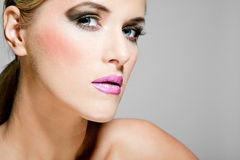 Beautiful female model with full makeup. Stock Photo