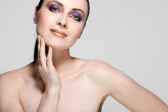 Beautiful female model with full makeup. Royalty Free Stock Photos