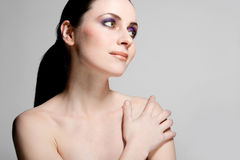 Beautiful female model with full makeup. Stock Images