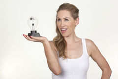 Beautiful female model holding a bulb Royalty Free Stock Photo