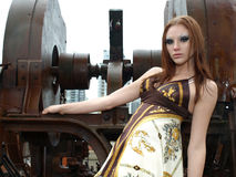Beautiful female model in an industrial ar Stock Photo