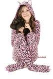 Beautiful female model in pink leopard pajamas Stock Photo