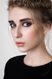 Beautiful female model with smoky eyes Royalty Free Stock Images