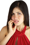 Beautiful female model suffering toothache Royalty Free Stock Image
