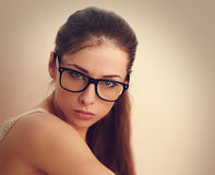 Beautiful female model in trendy glasses Royalty Free Stock Image