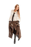Beautiful female model wearing leather jacket on her waist Royalty Free Stock Photography