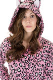 Beautiful female model wearing leopard pajamas Stock Image