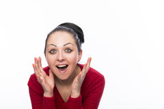 Beautiful female model wearing red jumper Stock Images
