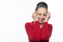 Beautiful female model wearing red jumper Royalty Free Stock Images