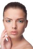 Beautiful female model on white background Stock Photo