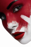 Beautiful female model with white skin and blood on face Stock Photography